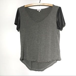 TOBI Short Sleeve Top Grey Black Sleeve Detail S